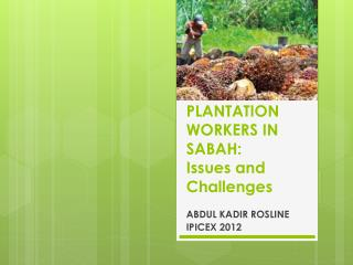 PLANTATION WORKERS IN SABAH:  Issues and Challenges