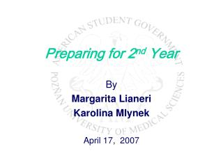 Preparing for 2nd Year