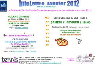 InfoLettre  Janvier 2012