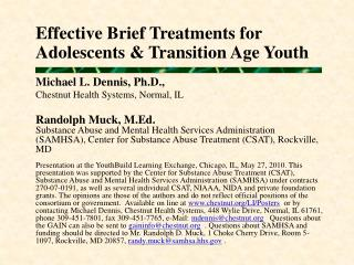 Effective Brief Treatments for  Adolescents & Transition Age Youth