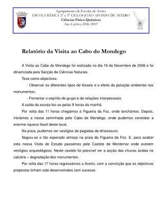 Agrupamento de Escolas de Aveiro ESCOLA BÁSICA 2° e 3° CICLOS JOÃO AFONSO DE AVEIRO