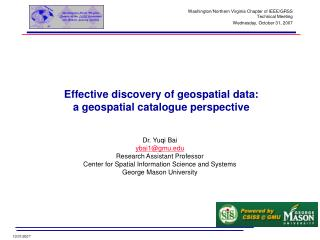 Effective discovery of geospatial data:  a geospatial catalogue perspective