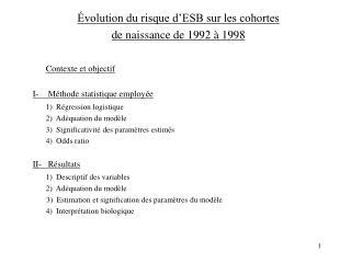 Évolution du risque d'ESB sur les cohortes  de naissance de 1992 à 1998 Contexte et objectif