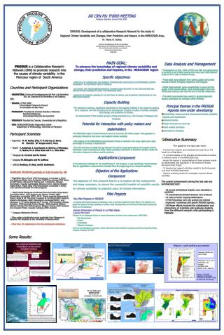 IAI CRN PIs THIRD MEETING Mendoza, Argentina, January 27-28, 2003