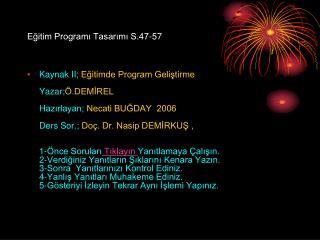 Eğitim Programı Tasarımı S.47-57