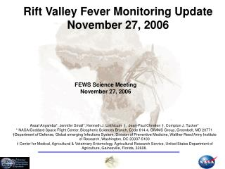 Rift Valley Fever Monitoring Update November 27, 2006