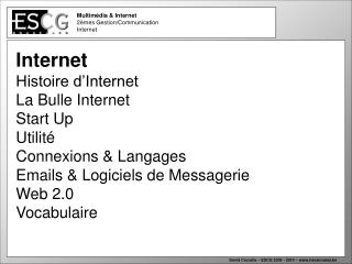 Multimédia & Internet  2èmes Gestion/Communication Internet