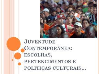 Juventude Contemporânea: escolhas, pertencimentos e politicas culturais...