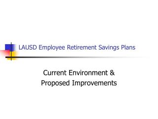 LAUSD Employee Retirement Savings Plans