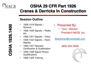 OSHA 29 CFR Part 1926 Cranes  Derricks In Construction