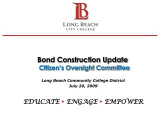 Bond Construction Update   Citizen's Oversight Committee