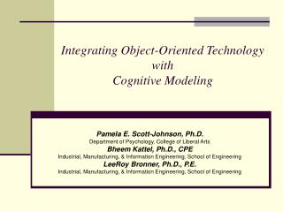 Integrating Object-Oriented Technology  with  Cognitive Modeling