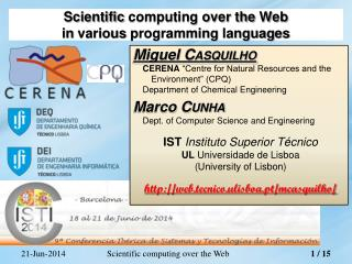 Scientific  computing over the  Web in  various  programming  languages