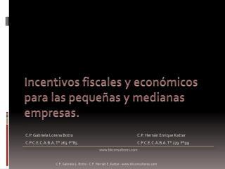 Incentivos fiscales y económicos para las pequeñas y medianas  empresas .