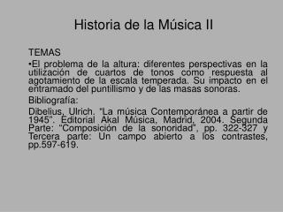 Historia de la Música II