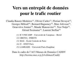 Vers un entrepôt de données pour le trafic routier
