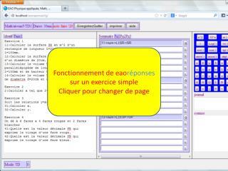 Fonctionnement de  eao réponses  sur un exercice simple Cliquer pour changer de page