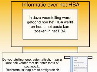 Informatie over het HBA