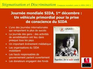 Journ e mondiale SIDA, 1er d cembre : Un v hicule primordial pour la prise  de conscience du SIDA