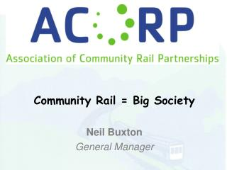 Community Rail = Big Society Neil Buxton General Manager