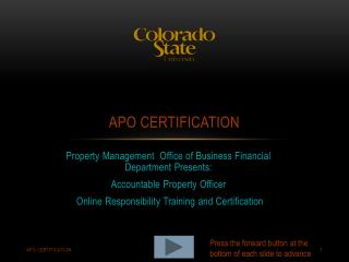 APO Certification