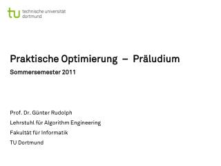 Praktische  Optimierung  –  Präludium Sommersemester 2011