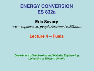ENERGY CONVERSION ES 832a  Eric Savory eng.uwo