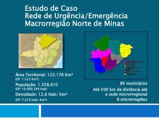 86 municípios  Até 500 km de distância até a sede microrregional 8 microrregiões