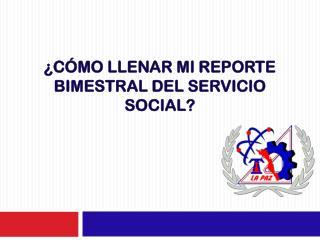 ¿Cómo llenar mi reporte bimestral del servicio social?