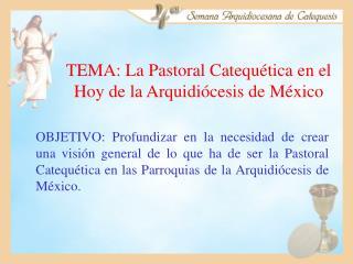 TEMA: La Pastoral Catequética en el Hoy de la Arquidiócesis de México