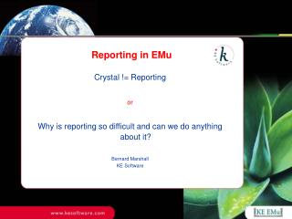 Reporting in EMu