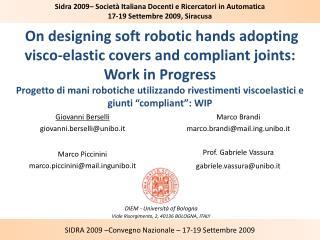 DIEM - Università of Bologna Viale Risorgimento, 2, 40136 BOLOGNA, ITALY