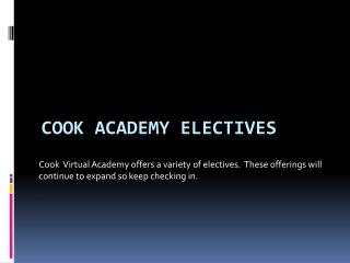 Cook Academy Electives