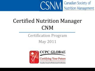 Certified Nutrition Manager CNM