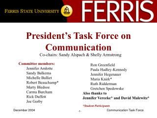 President�s Task Force on Communication