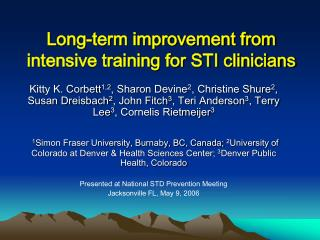 Long-term improvement from intensive training for STI clinicians