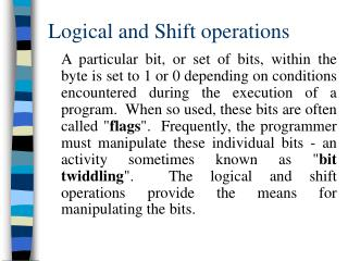 Logical and Shift operations