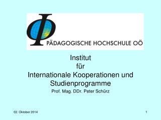 Institut  für Internationale Kooperationen und Studienprogramme Prof. Mag. DDr. Peter Schürz