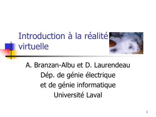 Introduction � la r�alit� virtuelle
