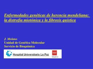 Enfermedades genéticas de herencia mendeliana:  la distrofia miotónica y la fibrosis quística