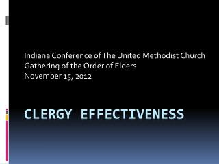 CLERGY EFFECTIVENESS