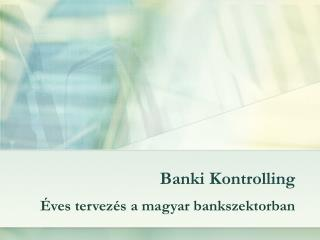 Banki Kontrolling