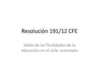 Resolución 191/12 CFE