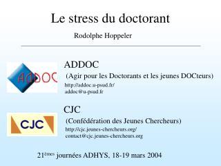 Le stress du doctorant