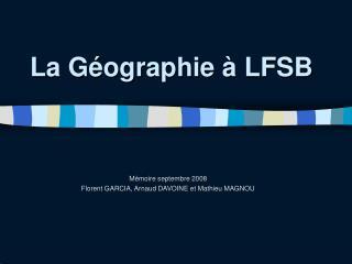 La Géographie à LFSB