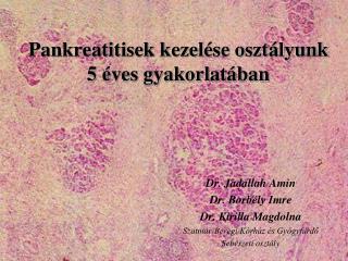 Pankreatitisek kezelése osztályunk 5 éves gyakorlatában