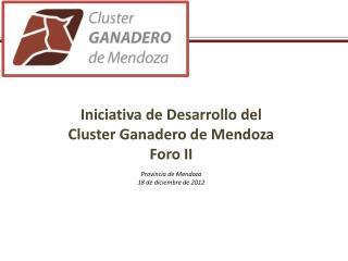 Iniciativa de Desarrollo del Cluster  Ganadero de Mendoza Foro II Provincia de  Mendoza
