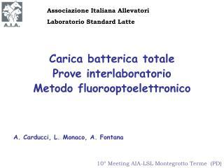 Carica batterica totale Prove interlaboratorio Metodo fluorooptoelettronico
