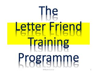 The  Letter Friend  Training Programme
