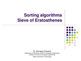 Sorting algorithms  Sieve of Eratosthenes